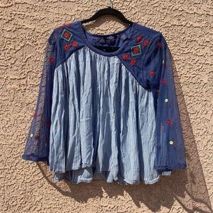 LIFE STYLE BLUE PEASANTS BLOUSE